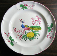 French Folk Art Peacock Scalloped Edge Pink Green Plate www.DecorativeDishes.net