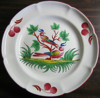 French Folk Art 2 Birds Cherries Leaves Pink Green Plate