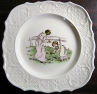 Kate Greenaway flower girls plate www.DecorativeDishes.net