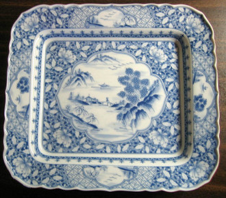 Blue White Chinoiserie Pictoral Detail Rectangle Tray Bowl www.DecorativeDishes.net
