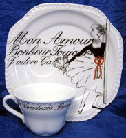 Mon Amour Ballerina Cup and Plate www.DecorativeDishes.net