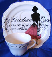 Vintage Rosanna Pink Skirt Girl Black White French Script Plate & Cup Set