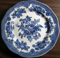 Blue Toile Rose Exotic Bird Paris Chinoiserie Plate Medium