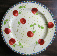 Red Cherries Green Leaves Dots on Pale Yellow Edge Medium Plate