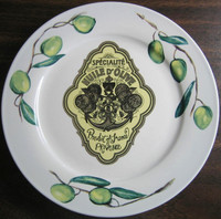 Vintage Olive Oil Label PROVENCE Green Olives Medium Plate www.DecorativeDishes.net