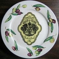 Vintage Olive Oil Label AIX Black Olives Medium Plate www.DecorativeDishes.net