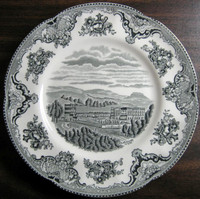 Black Gray Toile Transferware Castle Sky Roses Medium Plate www.DecorativeDishes.net