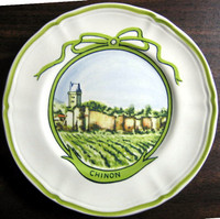 Sweet Chinon Winery French Green Bow Mini Small Plate www.DecorativeDishes.net