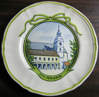 Sweet Dom Perignon Winery French Green Bow Mini Small Plate www.DecorativeDishes.net