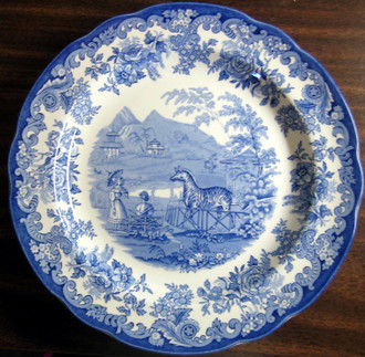 Blue White Transferware Toile Victorian Women Parasol Zoo Zebra Plate www.DecorativeDishes.net