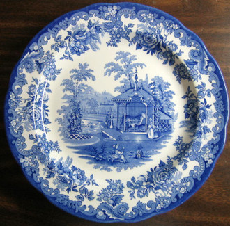 Blue White Transferware Toile Victorian Zoo Tiger Plate www.DecorativeDishes.net