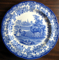 Blue White Transferware Toile Victorian Couple Zoo Camel Plate www.DecorativeDishes.net