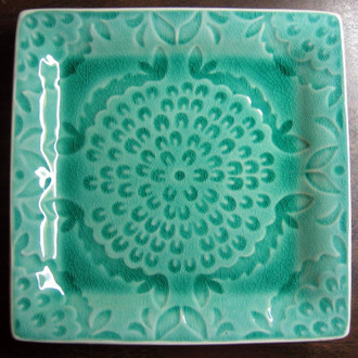 Green and Aqua Blue Medallion Burst Square Plate Tile www.DecorativeDishes.net