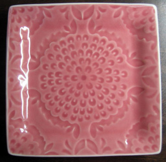 Rose Pink Medallion Burst Square Plate Tile www.DecorativeDishes.net