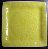 Lemon Yellow Medallion Burst Square Plate Tile www.DecorativeDishes.net