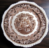 Brown Transferware Exotic Castle Couple Dog Leaves Large Plate