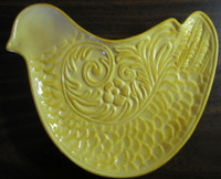 Whimsical Sunny Yellow Bird Chicken Textured Decorative Plate Trinket Tray