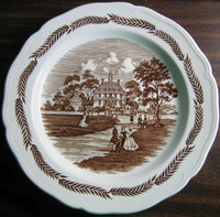 Brown Toile Transferware Colonial Couples Wheat Edge Plate