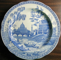 Blue Toile Transferware Exotic Palm River Temple Plate