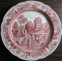 Pink Toile Transferware Exotic Animals Palm Temple Plate