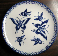 Cobalt Blue Exotic Chinoiserie Butterfly Pointy Edge Plate