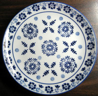 Cobalt Blue Exotic Chinoiserie Starburst Leaves Garland Edge Plate