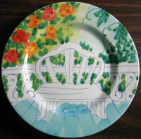 Sunny Bright Italian Bench Aqua Green Yellow Roses Garden Plate
