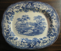 Blue Toile Chinoiserie Swan Roses Vintage Platter