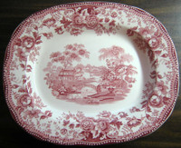 Pink Toile Chinoiserie Swan Roses Vintage Platter