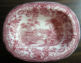 Pink Chinoiserie Swan Oval Bowl - www.DecorativeDishes.net