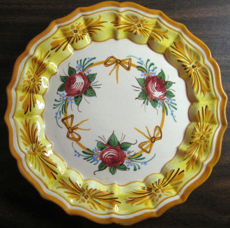 Italian roses and bows hand painted plate - www.DecorativeDishes.net