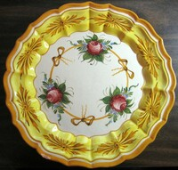 Vintage Roses and Bows Golden Scalloped Italy Italian Shabby Platter