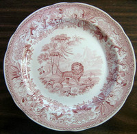 Red Pink Toile Transferware Lion Fox Palm Exotic Motif Plate