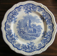 Cobalt Blue Toile Transferware Castle Acorn Oak Leaf Plate