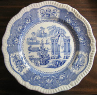 Cobalt Blue Toile Transferware Exotic Chinoiserie Plate