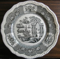 Black Toile Transferware Exotic Chinoiserie Plate