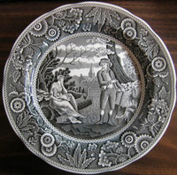 Black on White Toile Transferware Women Baby Calico Plate