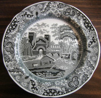 Black Transferware Chinoiserie Exotic Tower Cows Paisley Edge Plate