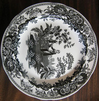 Black White Toile Transferware Girl Calico Daisy Plate