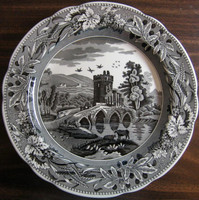 Black White Toile Transferware Tower Bridge Cows Berries Leaves Plate