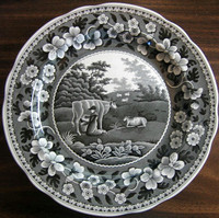 Black White Toile Transferware Milkmaid Cow Sheep Floral Edge Plate