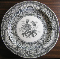 Black White Toile Transferware Exotic Floral Plate
