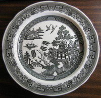 Black White Chinoiserie Exotic Bird Willow Plate
