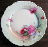 Antique Hand Painted Pink Pink Daisy French Limoges Porcelain Plate