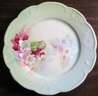 Antique Hand Painted Pink Pink Posies French Limoges Porcelain Plate