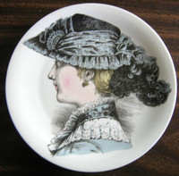 French Lace Victorian Hat Fashion Porcelain Plate Melle Josephine