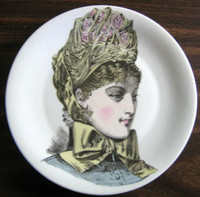 French Roses Victorian Hat Fashion Porcelain Plate Melle Valentine