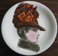 French Bow Victorian Hat Fashion Porcelain Plate Melle Charlotte