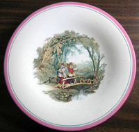 Antique 1870s English Women Bridge Pink Edge Pottery Plate