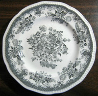 Black Grey Toile Butterfly Mum Poppy Bird Vintage Plate S